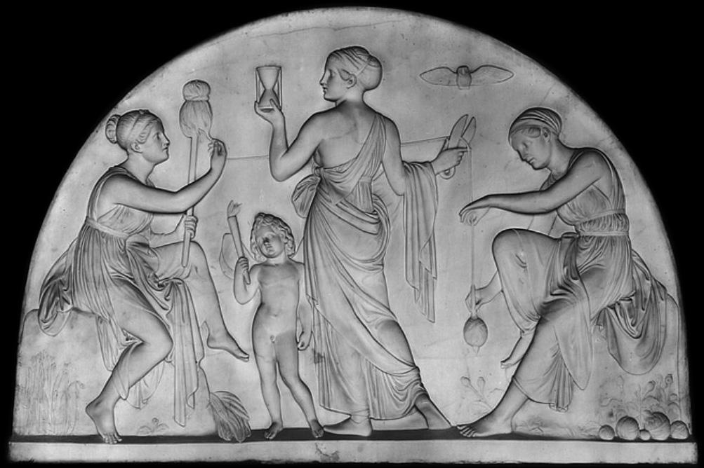 Le tre Moire: Clotho, Lachesis e Atropos.